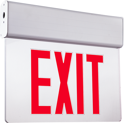 Edge-lit exit sign red Letters, clear panel