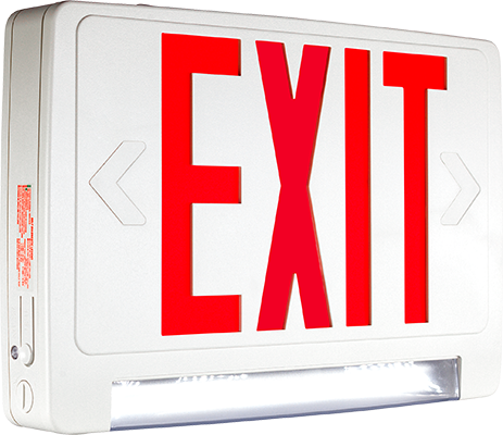 EELC LED Exit Sign with Integrated Emergency Light Bar