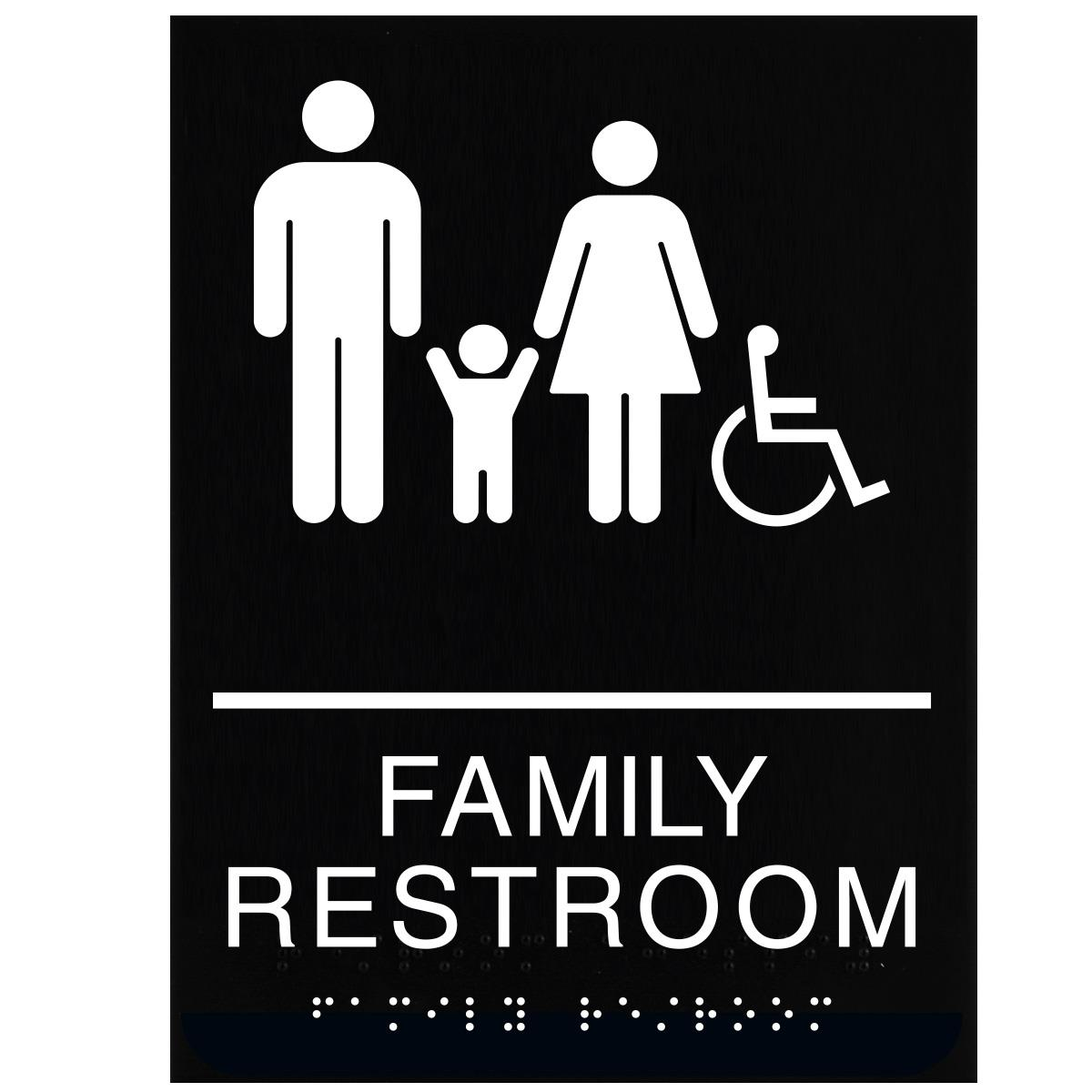 ADA Braille Family Restroom Sign Engraved Applique Grade 2