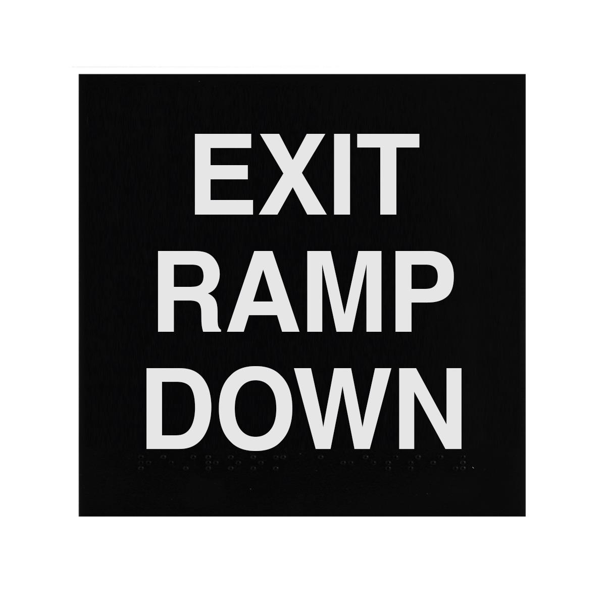 ADA Braille Exit Ramp Down Sign Engraved Applique Grade 2