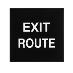 ADA Braille Exit Route Sign Engraved Applique Grade 2