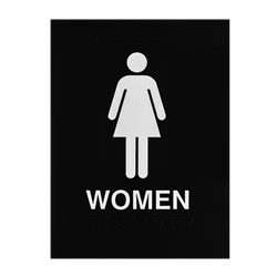 ADA Braille Womens Restroom Sign Engraved Applique Grade 2