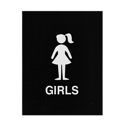 ADA Braille Girls Restroom Sign Engraved Applique Grade 2