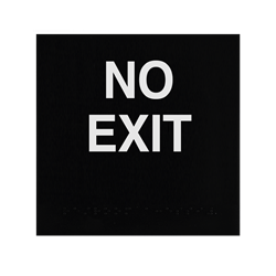 ADA Braille No Exit Sign Engraved Applique Grade 2