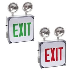 Wet Location Exit Sign with Integrated Emergency Lights Series: EEWLC