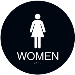 ADA Braille Womens Restroom Circle Sign Engraved Applique Grade 2