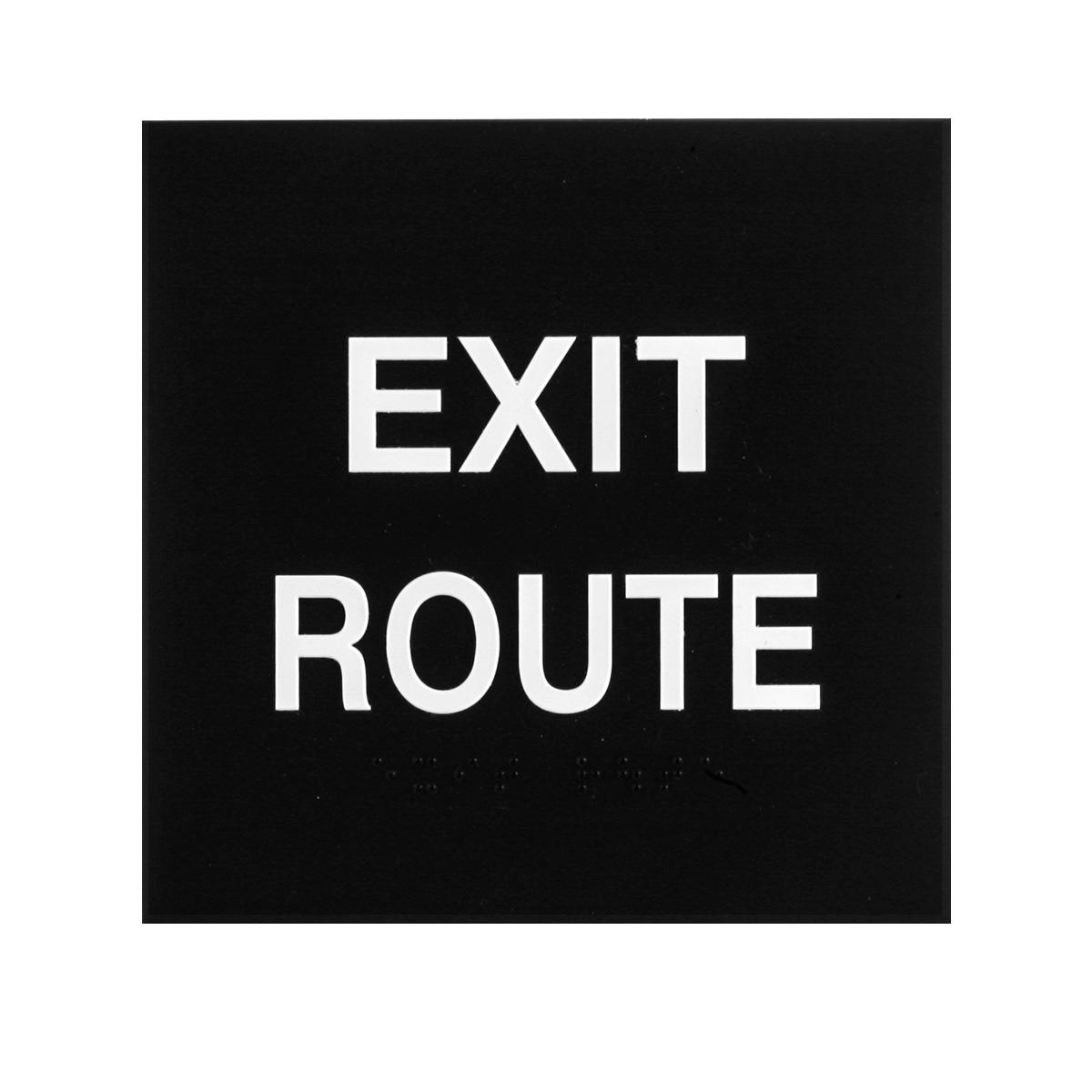 ADA Braille Exit Route Sign Engraved Applique Grade 2