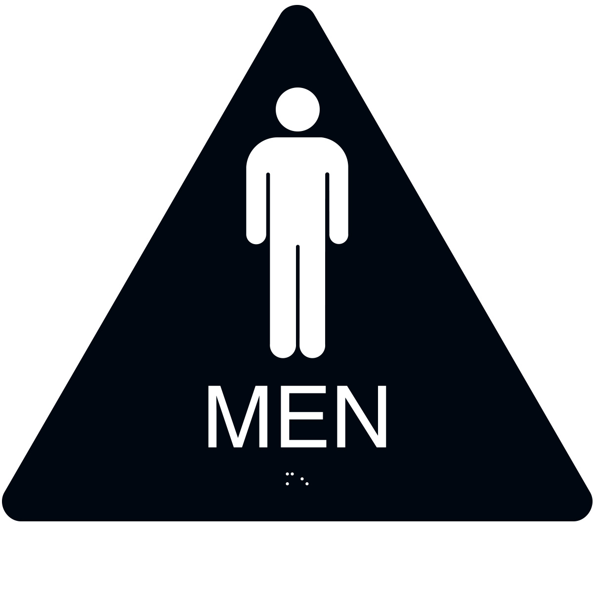 ADA Braille Mens Restroom Triangle Sign Engraved Applique Grade 2