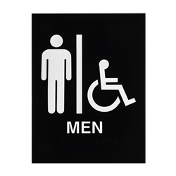 ADA Braille Mens Accessible Restroom Sign Engraved Applique Grade 2