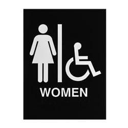 ADA Braille Womens Accessible Restroom Sign Engraved Applique Grade 2