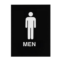 ADA Braille Mens Restroom Sign Engraved Applique Grade 2