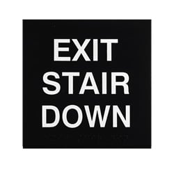 ADA Braille Exit Stair Down Engraved Applique Grade 2
