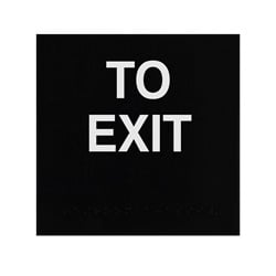 ADA Braille To Exit Sign Engraved Applique Grade 2