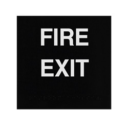 ADA Braille Fire Exit Sign Engraved Applique Grade 2