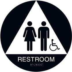 ADA Braille Unisex Accessible Restroom Sign