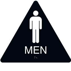ADA Braille Mens Restroom Triangle Sign Engraved Applique Grade 2